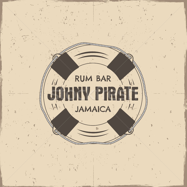 Vintage handcrafted rum bar label, emblem. sign - johny pirate, Jamaica. Sketching filled style. Pir Stock photo © JeksonGraphics