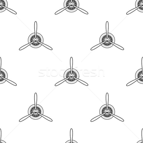 Stock photo: Vintage airplane pattern. Biplane propellers seamless background. Retro Aircraft wallpaper and desig
