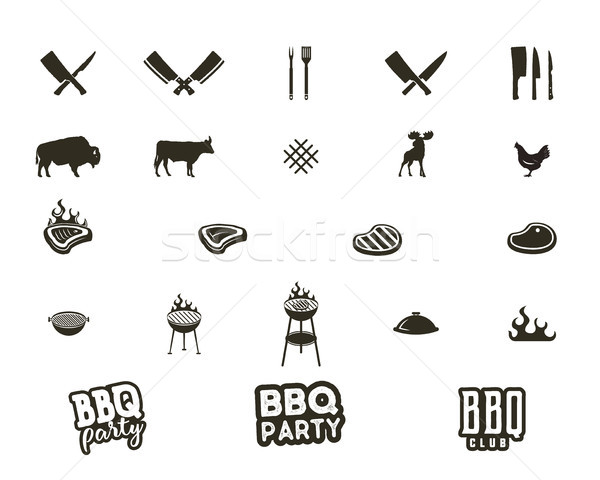 Steak house and grill silhouette textured icons. Black shapes isolated on white background. Include Stock photo © JeksonGraphics