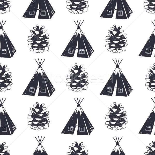 Vintage hand drawn camping and forest pattern design. Seamless wallpaper with tent, pine cone. Monoc Stock photo © JeksonGraphics