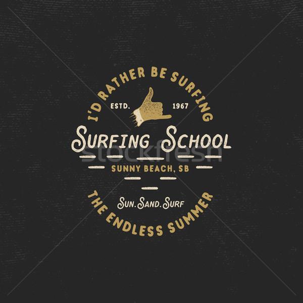 Surfing school vintage emblem. Retro logo design with shaka sign and typography elements. Stock isol Stock photo © JeksonGraphics