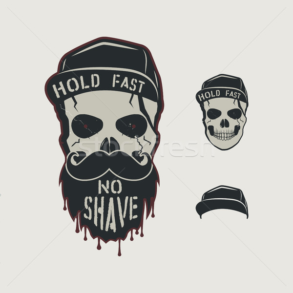 Skull head character. VIntage hand drawn design with cap, beard, mustache and words - hold fasy, no  Stock photo © JeksonGraphics