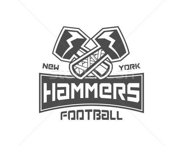 Amerikai futball címke kalapács logo alkotóelem Stock fotó © JeksonGraphics