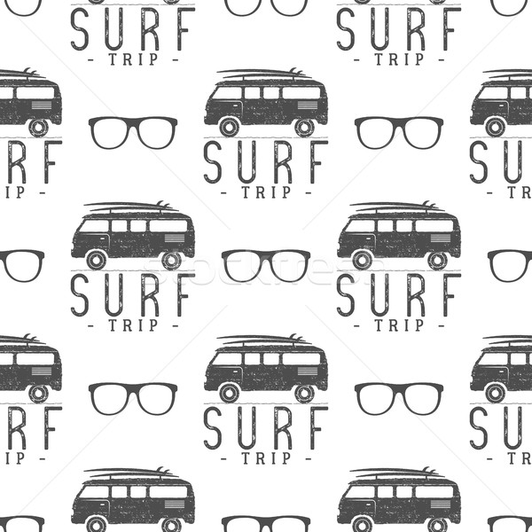 Surfing Seamless pattern with glass. Surfer van, glasses elements. rv wallpaper printing design. co Stock photo © JeksonGraphics