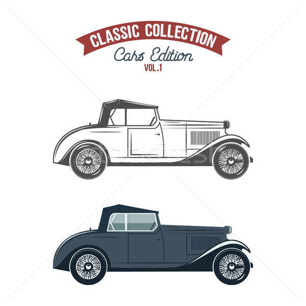 Retro car icons, symbols in flat color and monochrome style. Classic transportation vector design. U Stock photo © JeksonGraphics