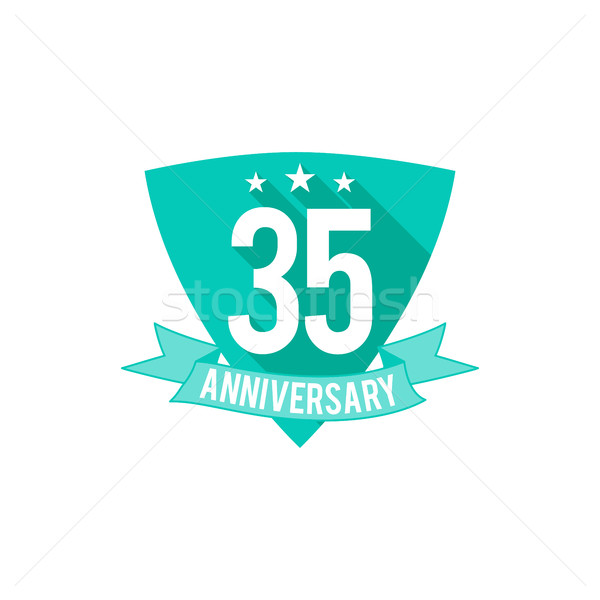 Stock photo: 35 years Anniversary badge, sign and emblem. Flat design. Easy to edit and use your number, text. Ve