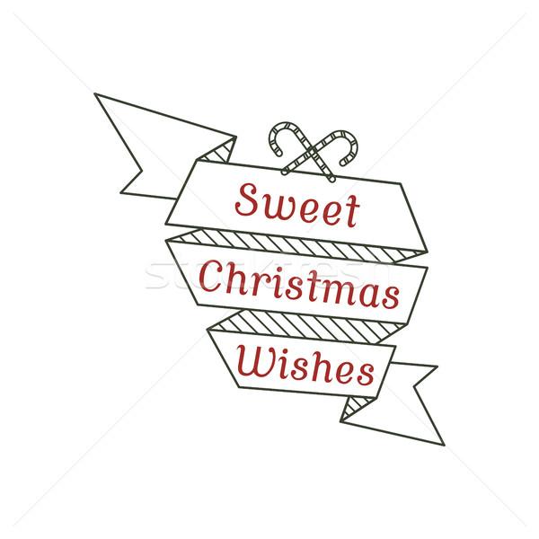 Słodkie christmas życzenia typografii podpisania kaligrafia Zdjęcia stock © JeksonGraphics