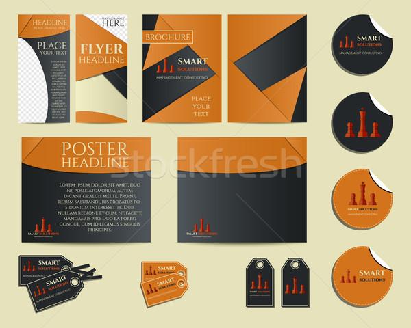 Okos megoldások üzlet branding arculat szett Stock fotó © JeksonGraphics