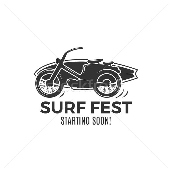 Vintage Surfing tee design. Retro Surf fest tshirt Graphics and Emblem for web design or print. Surf Stock photo © JeksonGraphics