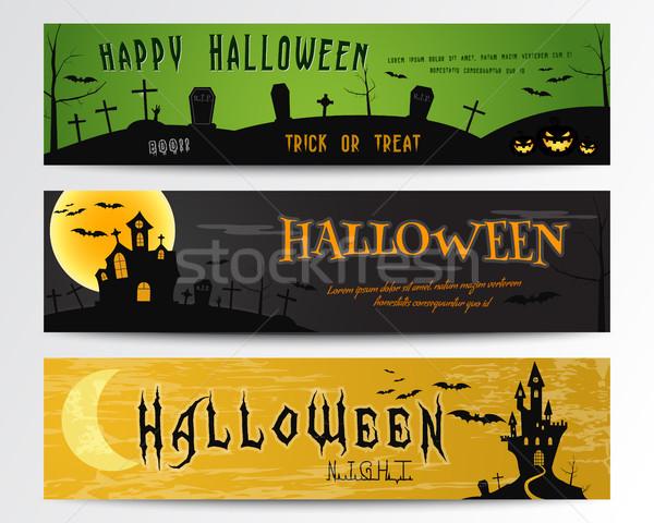 Stockfoto: Drie · halloween · banners · groene · donkere · oranje