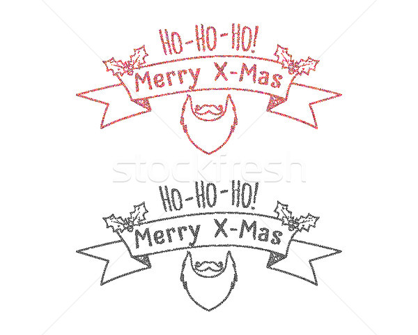 Dot work styled hipster christmas label, badge, logo set. Monochrome and color. Unusual new year win Stock photo © JeksonGraphics