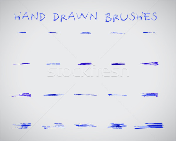 Set of felt pen marker hand drawn,doodle, sketched grunge brushes. Abstract ink, felt pen strokes fo Stock photo © JeksonGraphics