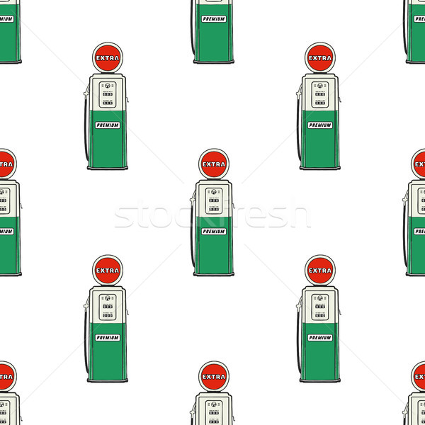 Gas station pump seamless design. Vintage hand drawn oil station pattern. Stock vector background is Stock photo © JeksonGraphics