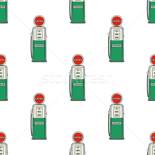 ガソリンスタンド ポンプ シームレス デザイン ヴィンテージ 手描き ストックフォト © JeksonGraphics