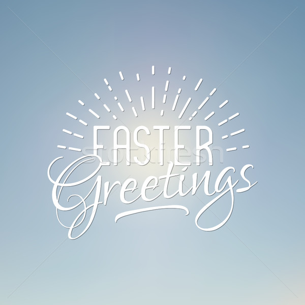 Easter greetings sign. Easter wish overlay, lettering label design. Retro holiday badge. Hand letter Stock photo © JeksonGraphics