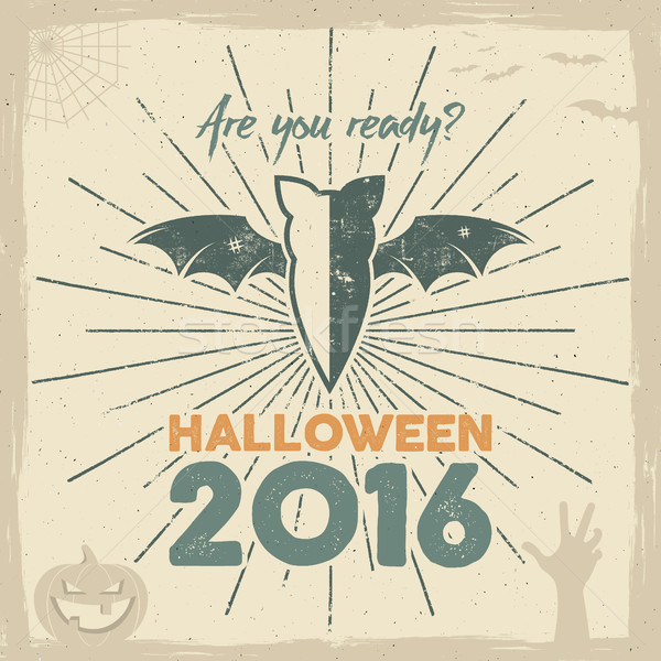 Happy Halloween 2016 Poster. Are you ready lettering and holiday symbols - bat, pumpkin, hand, witch Stock photo © JeksonGraphics