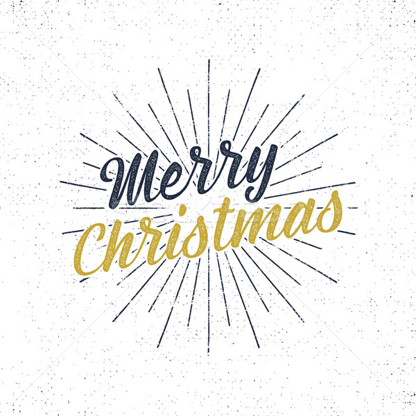 Merry Christmas typography label. Retro christmas photo overlay, badge. Vector holiday lettering ill Stock photo © JeksonGraphics