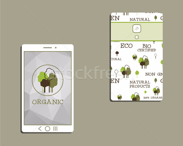 Corporate identity template design for natural and organic shop products. Mobile device, smart phone Stock photo © JeksonGraphics