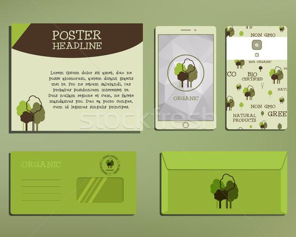зеленый органический корпоративного личности набор шаблон Сток-фото © JeksonGraphics