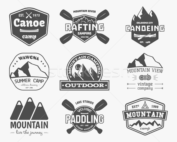 Stock photo: Set of vintage mountain, kayaking, paddling, canoeing camp logo, labels and badges. Stylish Monochro
