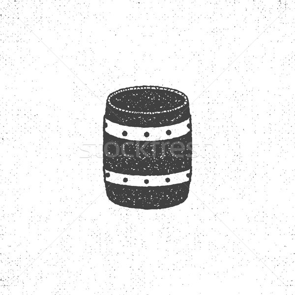 Retro baryłkę ikona odizolowany biały symbol Zdjęcia stock © JeksonGraphics