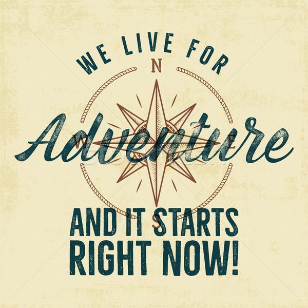 Retro-stijl avontuur label ontwerp live typografie Stockfoto © JeksonGraphics