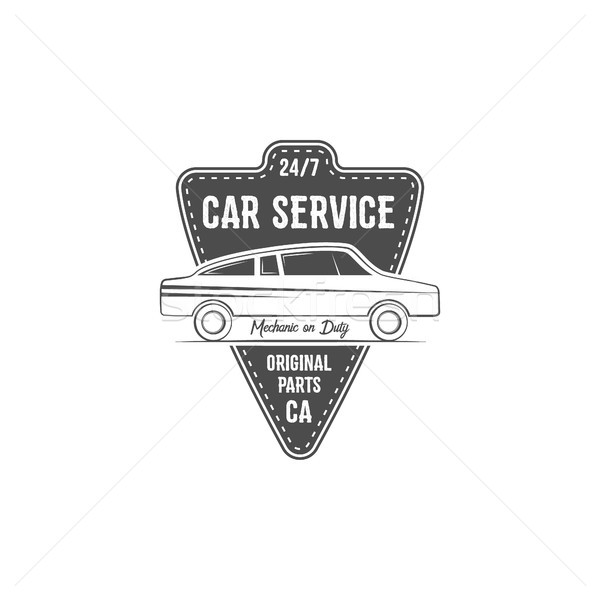 Vintage car service label design. Automotive emblem in monochrome retro and typography elements. Goo Stock photo © JeksonGraphics