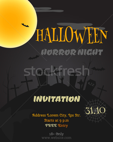 Happy Halloween party poster, flyer, banner. Horror night style card. Trick or treat. With zombie, b Stock photo © JeksonGraphics