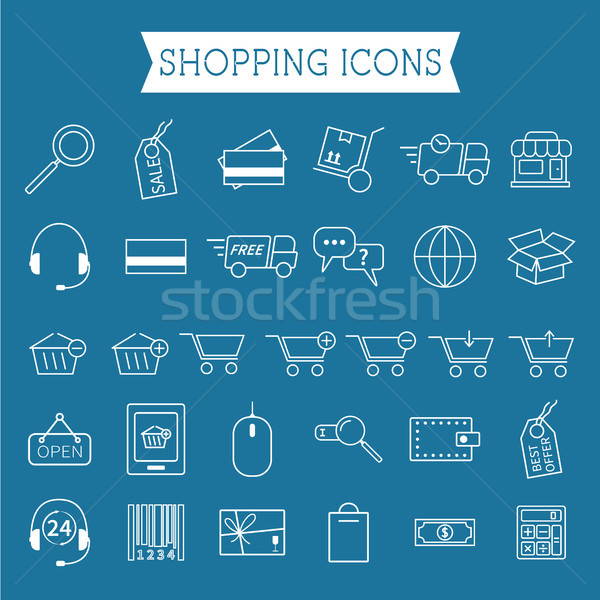 Set of On-Line Shopping icons. Outline. Can be use as elements in infographics, as web and mobile ic Stock photo © JeksonGraphics