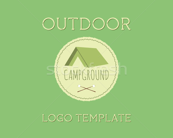 Adventure Outdoor Tourism Travel Logo Vintage Labels design vector templates. Campground, campsite.  Stock photo © JeksonGraphics