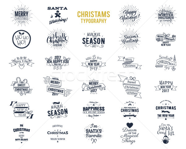 Grand Noël typographie drôle badges Photo stock © JeksonGraphics