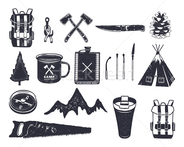 Vintage hand drawn adventure hiking, camping shapes of backpack, saw, mountain, matches, tree, knife Stock photo © JeksonGraphics