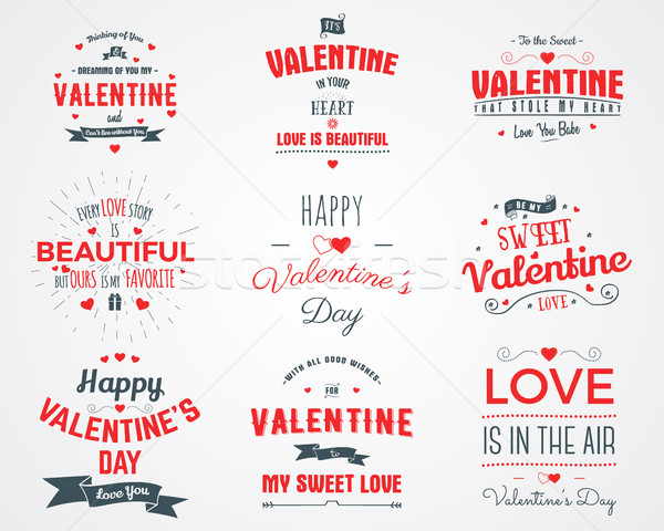photo overlays, hand drawn lettering collection, inspirational quote. Valentine day labels set. Lov Stock photo © JeksonGraphics