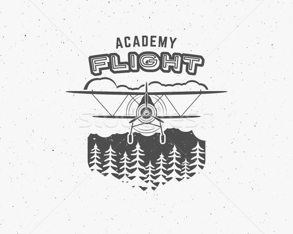 Klasszikus repülőgép embléma kétfedelű repülőgép címke retro Stock fotó © JeksonGraphics