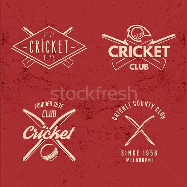 Ayarlamak Retro kriket kulüp dizayn logo Stok fotoğraf © JeksonGraphics