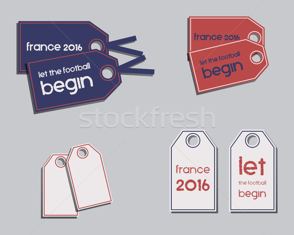 Stock photo: Set of France 2016 Football brand identity labels - stickers. The national colors of France design.