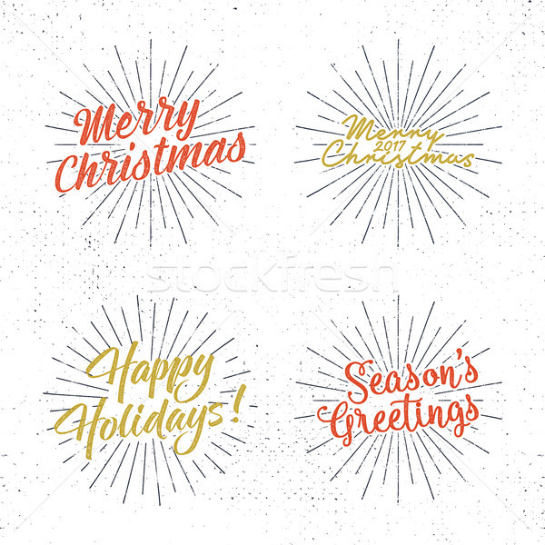 Set Weihnachten Wünsche Jahrgang Etiketten Jahreszeiten Stock foto © JeksonGraphics