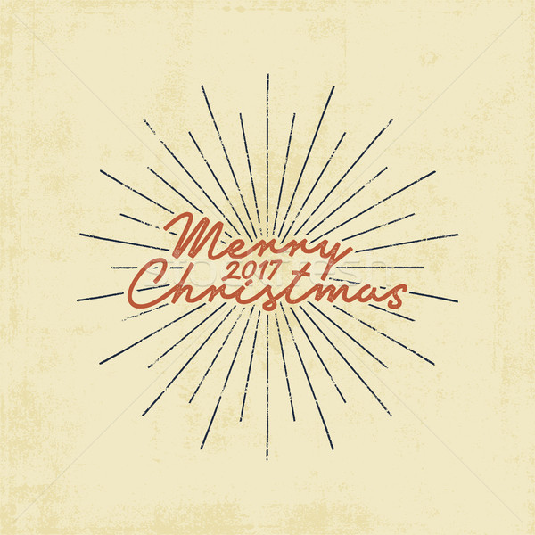 Merry Christmas 2017 lettering, holiday wishe, sayings and vintage label. Season's greetings calligr Stock photo © JeksonGraphics