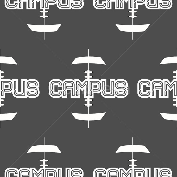 American football campus seamless pattern in grunge retro monochrome style. with training text. Styl Stock photo © JeksonGraphics