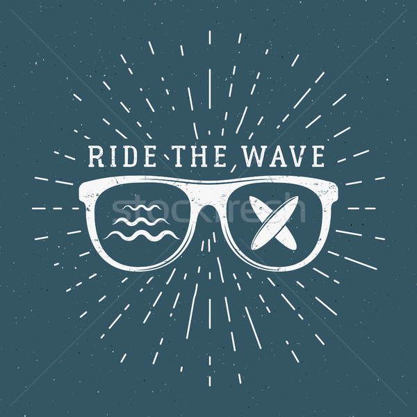 Vintage Surfing Graphics and Emblem for web design or print. Surfer, beach style logo design. Glass  Stock photo © JeksonGraphics