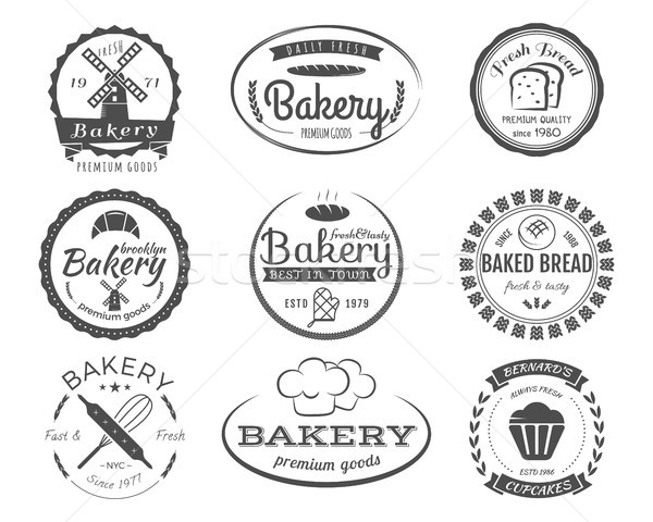 Set of bakery labels, badges and design elements, symbols. Fresh bread, cakes logo templates. Monoch Stock photo © JeksonGraphics