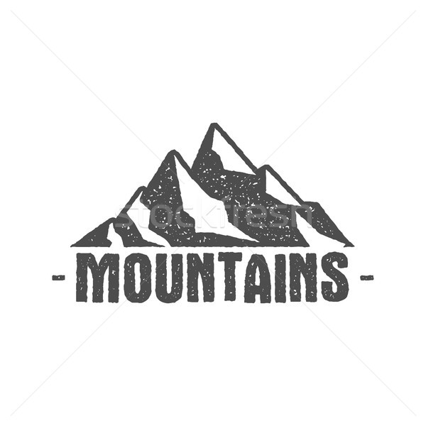 Hand drawn mountain badge Wilderness old style typography label Letterpress Print Rubber Stamp Effec Stock photo © JeksonGraphics
