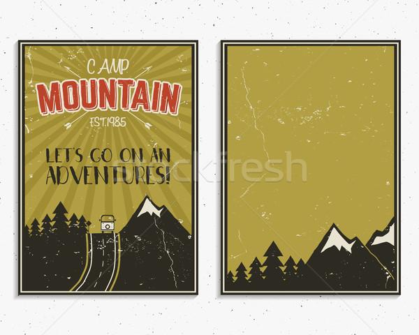 Retro nyár tél ünnep plakátok utazás Stock fotó © JeksonGraphics