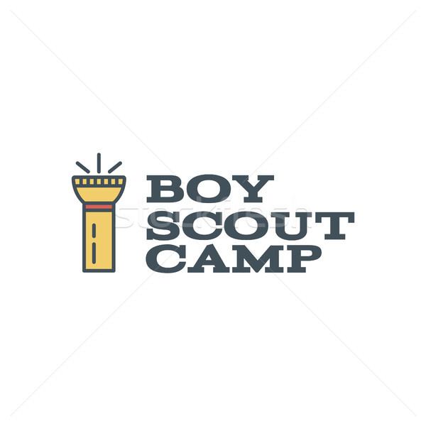 Boy scout camp logo design with typography and travel element - flashlight. text. Hiking trail, back Stock photo © JeksonGraphics