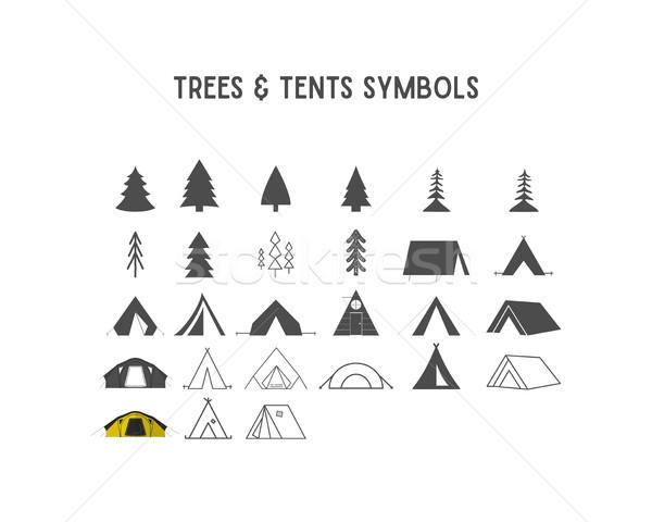 деревья палатки Элементы создание собственный Сток-фото © JeksonGraphics