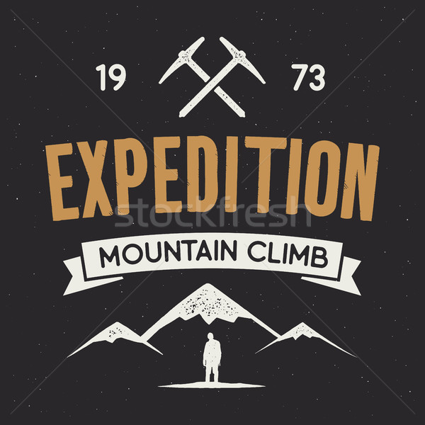 Mountain expedition label with climbing symbols and type design - mountain climb. isolated on dark Stock photo © JeksonGraphics