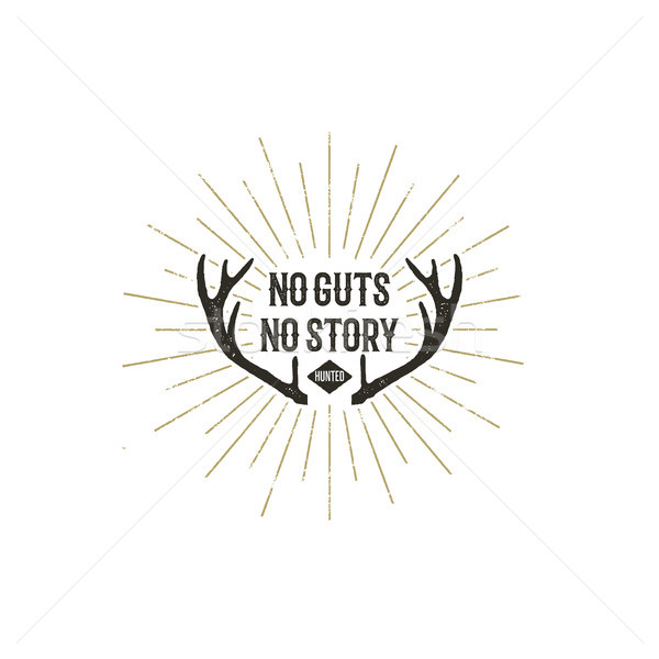 Hand drawn vintage Insignia with text - no guts no story. Hunted. Retro Logotype with sunbursts. des Stock photo © JeksonGraphics
