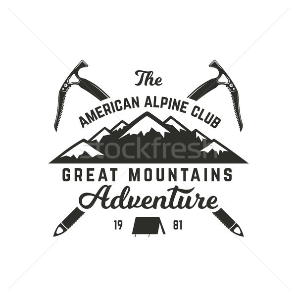 Vintage hand crafted label. Mountain expedition, outdoor adventure badge with climbing symbols and t Stock photo © JeksonGraphics