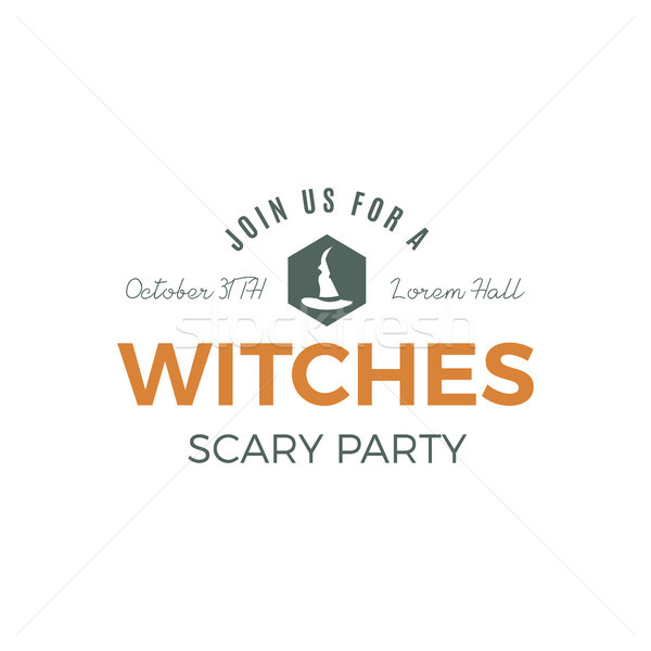 Halloween witches party label template with hat and typography elements. letters. Retro grunge patch Stock photo © JeksonGraphics