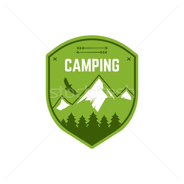 Kamp etiket bağbozumu dağ kış kamp Stok fotoğraf © JeksonGraphics
